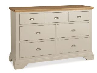 Cumbria (Bedroom) 3 + 4 drawer wide chest (soft grey and pale oak)