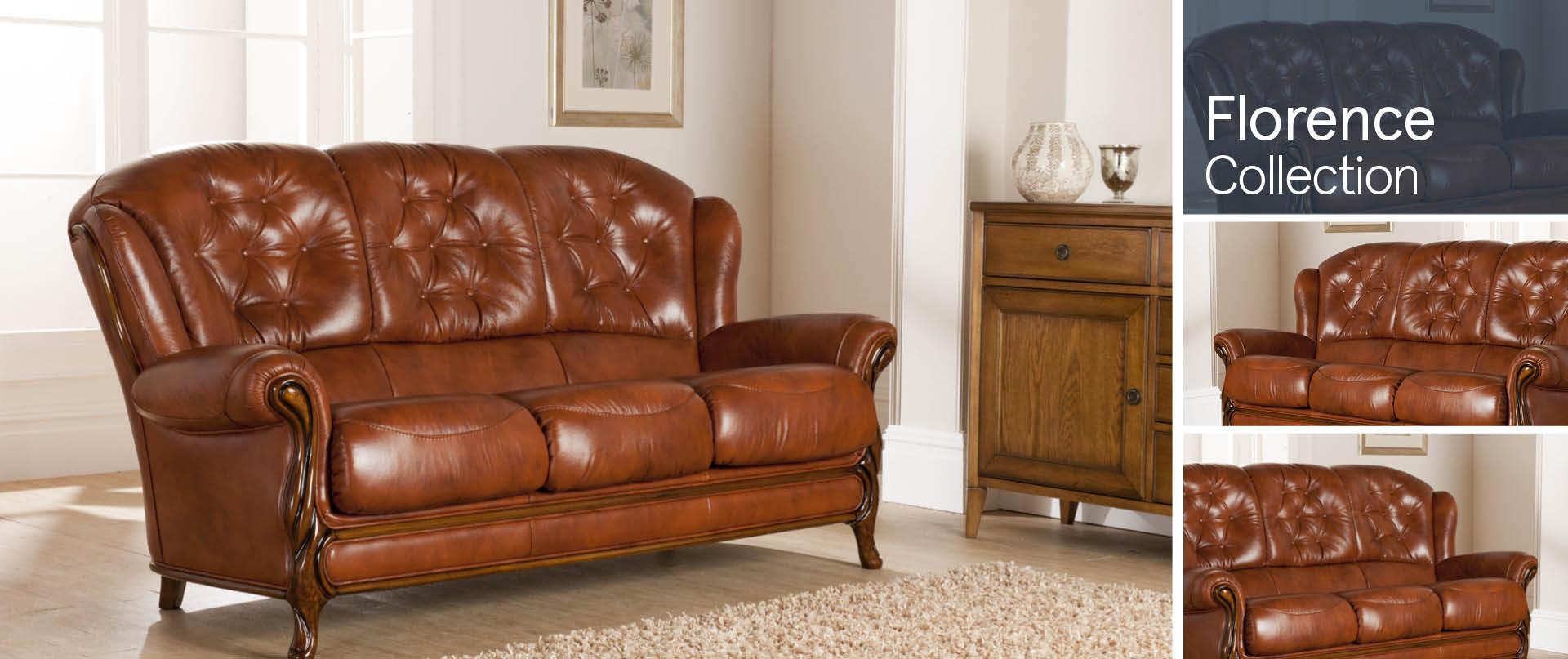 Florence All Leather Sofa Ranges