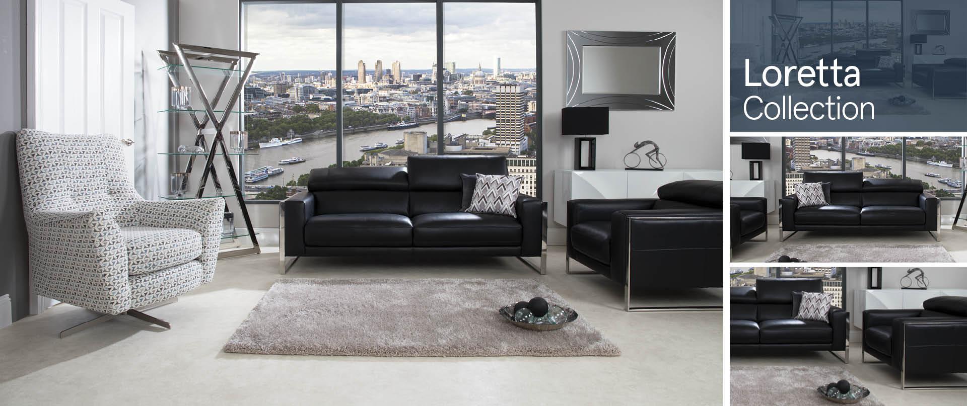 Loretta All Leather Sofa Ranges